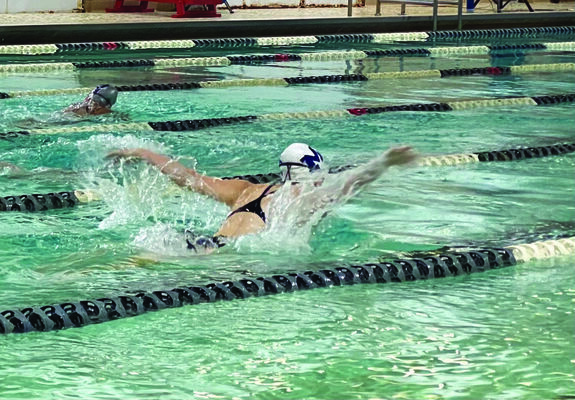 Morgan Warren took second place in the 100 Butterfly at the November 13 meet in Altus.
