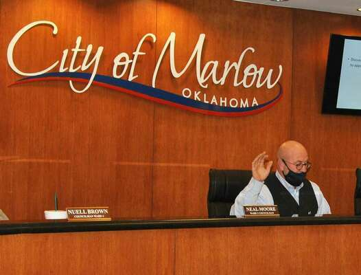 John Rich was sworn in to the Marlow City Council Ward 3 seat at Tuesday's meeting.  Photo by Elizabeth Pitts-Hibbard/The Marlow Review