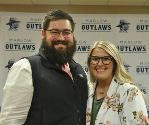 Quaid Kennan, pictured here with his wife Chelsea, was hired to be the next Ag educator for Marlow Public Schools at Monday's School Board meeting. Kennan is a recent graduate from Oklahoma State University.  Photo by Elizabeth Pitts-Hibbard/The Marlow Review
