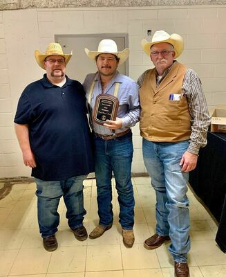 Preston Nunley (center), flanked by Josh Long and Kevin Kelly, accepted the Stephens County Livestock Growers Association Honorary Member award for 2020 on behalf of his late father, Steve Nunley.
