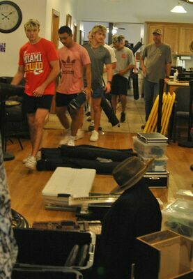 """Members of the Marlow High School wrestling team volunteered with set-up and tear-down of """"Awakening the Mind: WWI Remembered"""" at Marlow Senior Citizens Center on Friday and Tuesday."""
