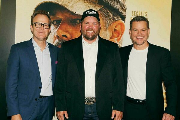 """Tom McCarthy, Kenny Baker, and Matt Damon on the red carpet at the premiere of the film """"Stillwater"""" in New York City on Monday.  Photo courtesy of Kenny Baker"""