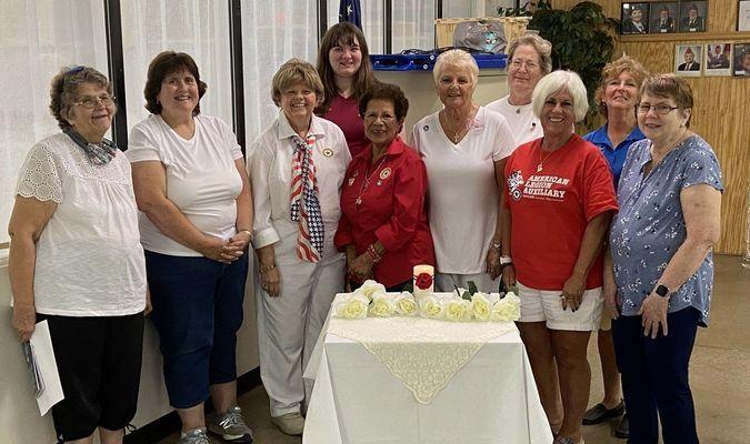 left to right: Gail Dietrich, Chaplain; Carol Lockett; Linda Schmitz, Jessica Clay, Sgt at Arms; Victoria Ornelas, Dept. First Vice-President; Linda Maddox, President; Juanita Turnbough; Ellen Goodwin; Ruthie Jones and Gina Walden.