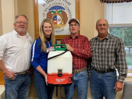 Pictured l-r:  John Lake, Ralls County Western District Commissioner; Dr. Tara Lewis, Superintendent of Ralls County RII School District; R. C. Harlow, Ralls County Eastern District Commissioner; and Wiley Hibbard, Ralls County Presiding Commissioner.