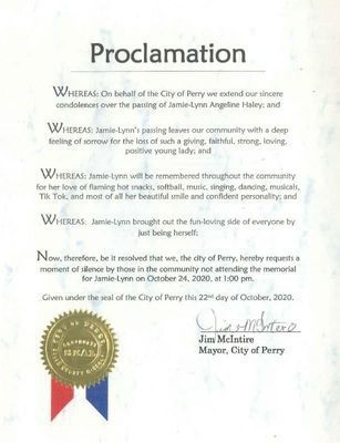 The City of Perry issued a Proclamation for a moment of silence for Jamie-Lynn on Saturday, October 24, at 1 p.m.