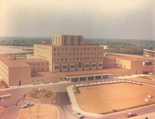 Truman VA in the early 1970s, from the perspective of Hospital Drive.