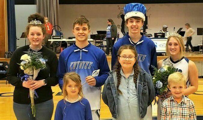 Owen Totten - Prince; Macy Bush - Princess; Laken Edwards - King; Nicole Skinner - Queen