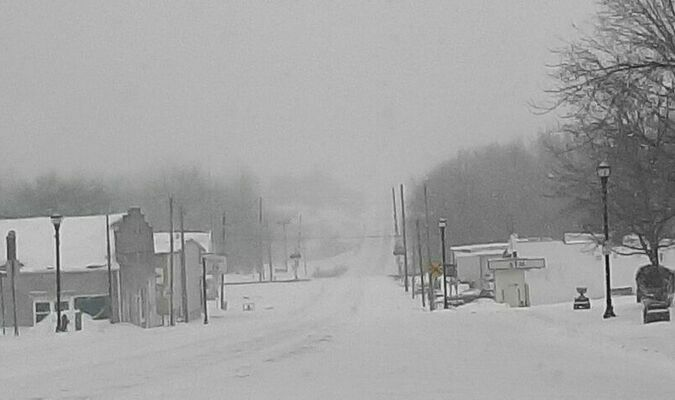 Photo was taken by Janice Carman in front of Appeal office on Feb 15, 2021, looking towards railroad tracks. Unable to see highway intersection.