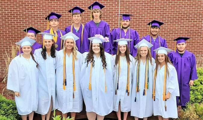 (in no particular order) Christian Colston; Nathan Deaver; Hunter Dennis; Cole Meals; Anthony Munoz; Joseph O'Bannon; Lane Peters; Kira Dickerson; Jonathon Doodding; Mallory Greiwe; Bethanie Scheets; Abigail Thomas; and Rylee Thomas. Photo by Robin Gregg