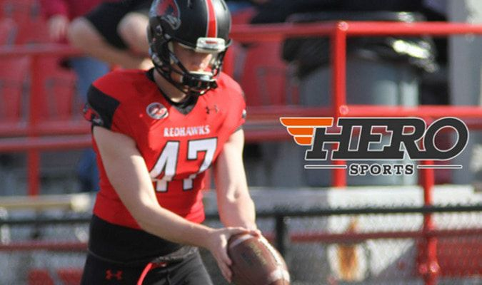 Zach Haynes punts for RedHawks Scholarship to Southeast Missouri (Photo Submitted)