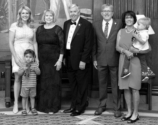 McGIRLS VISITED PARSONS – At the Governor's Office during the Bicentennial Celebration and the Inaugural Ball (L-R): Julie Tiemann, John Tiemann, Teresa Parson, Gov. Michael L. Parson, Rep. Mike McGirl, Diane McGirl and Andrew Tiemann.                                                            (State Photo)