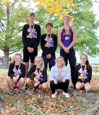 P.H.S. All-Conference Runners - Back from left, Zeke Sisk 7th, Garrett Hale 10th and Will Jarvis 11th; front, Hallie Portell 5th, Kaydence Gibson 10th, Gracie Schutz 8th, Celeste Sansegraw 4th.   (Submitted Photo)