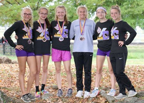 Potosi Varsity girls 2nd in MAAA Conference - From left,Kaydence Gibson 10th, Celeste Sansegraw 4th, Hallie Portell 5th, Gracie Schutz 8th, Carlee Moss 18th and Emily Hochstatter 19th, (not pictured Alyson Skiles).               (Submitted Photo)