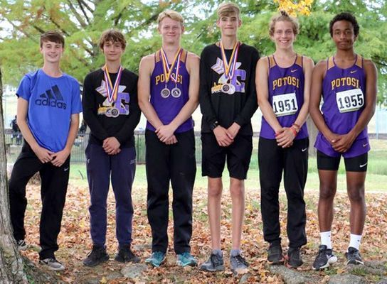 Potosi Varsity Boys 2nd place MAAA Conference- From Left Andy Cain 23rd, Garrett Hale 10th, Will Jarvis 11th, Zeke Sisk 7th, Hunter Griffin 31st and  Jaden Kanan 15th, (not pictured David DeClue 24th).        (Submitted Photo)