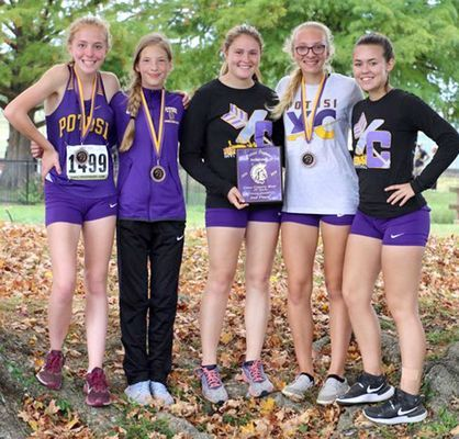 P.H.S. JV Girls 2nd place - From left, Amiee Winick 19th, Allie Heeter 3rd, Cierra Lewis 9th, Kya Gibson 7th, Lilly Paisley 51st.    (Submitted Photo)