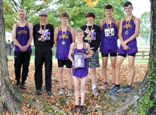 P.H.S. JV Boys 1st Place - front left Kolbey Heeter 75th, back, from left,  Luke Fambrough 44th, Jacob Lewis 6th, Ely Griffin 1st, Colton Politte 9th, Tanner Gibson 3rd and Connor Gibson 4th. (Submitted Photo)