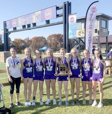 GIRLS SUCCESSFUL AT STATE MEET – The 2020 Lady Trojan Cross Country Team are all smiles with their medals and State Trophy for 3rd in the Class 3 competition. Celeste Sansegraw earned All State Honors for the second year in a row with a 21st place finish.  (Sub. Photo)
