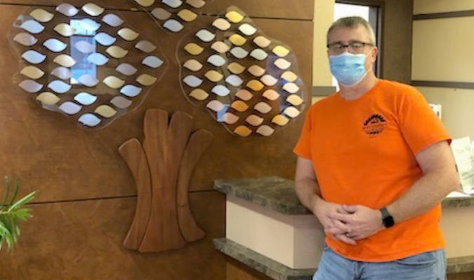 WCMH FOUNDATION HONOR TREES IN PLACE – The County Hospital Foundation has placed two 'Honor Trees' in the main lobby entrance. The attractive Trees were installed by Dave Gray. The leaves will be engraved for donors 'In Memory of' or 'In Honor of' as sponsored. Funds for the Foundation help with equipment, education and programs at Washington County Memorial Hospital.		(Sub. Photo)