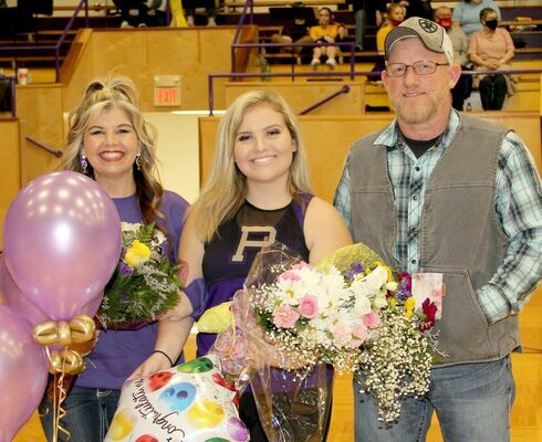 POMMIE SENIOR Jadelynn Wigger was escorted by her mom, Wendy Gant and her dad, Aaron Wigger. Jadelynn has been a Pommie for three years at Potosi High School.