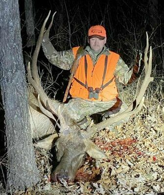 Sam Schultz of Winfield harvested this 5x6 bull elk Dec. 15 on private property in Shannon County. 	               (Submitted Photo)