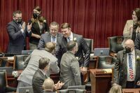 HOUSE SPEAKER ROB VESCOVO is congratulated after his election to the seat on Wed., Jan. 6th in Jefferson City. Representative Rob Vescovo is from Arnold and will lead the House for the 101st General Assembly. For the local area, State Representatives Chris Dinkins, Mike McGirl and Nate Tate were sworn in on Jan. 6th, 2021 in Jefferson City. (State Photos)