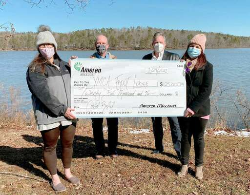 AMEREN SUPPORTS YMCA OF THE OZARKS – Participants in the ceremonial check presentation were: (left to right) Melissa DiFiori, Operations Director for YMCA's Trout Lodge and Camp Lakewood; Paul Mallmann, Supervising Engineer for Ameren Missouri's SEMO Division and current member of Trout Lodge and Camp Lakewood's Board of Advisors; Russell Burger, Director of Ameren Missouri's SEMO Division and Danielle West, Regional Account Executive for Ameren Missouri.          (Submitted Photo)