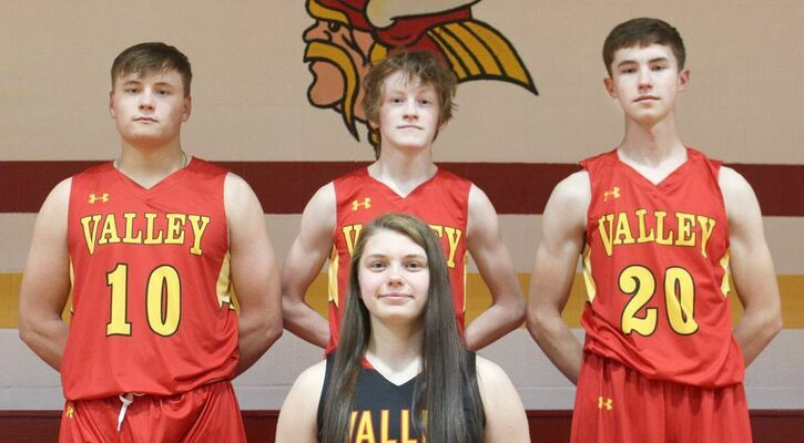 Congratulations to Tyler Courtway, Keegan Boyer, Colby Maxwell and Kenley Missey on making 2020 - 2021 Class 2 District 4 All District Basketball.                                (School Photo)