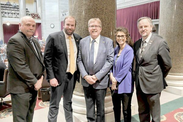 Pictured are: State Representative Don Mayhew of Crocker, U.S. Representative Jason Smith, State Representative Mike McGirl of Potosi, State Representative Chris Dinkins of Annapolis and State Representative J. Eggleston of Maysville. (State Photo)