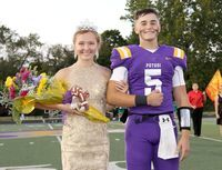 TROJANS HOMECOMING QUEEN & KING- The Potosi High School Football Trojans celebrated their Annual Homecoming on Friday, Oct. 2nd, 2020 at 'Trojan Field;. This year's Queen is Ms. Hallie Portell and the King is Mr. Andrew Coleman The King & Queen were introduced with the Class Maids during coronation prior to the football game.