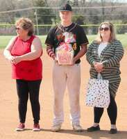 #4 Keegan Boyer is the son of Gilbert and Tara Boyer also being escorted by Patti Boyer. Keegan has played baseball for four years.