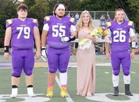 P.H.S. SENIOR MAID Sydney Litton was escorted by #79 Senior Lonnie Clapp, #55 Senior Keki Ortiz and #26 Senior Wade Mercille during the coronation ceremony at the Homecoming Celebration, Friday, Oct. 2.