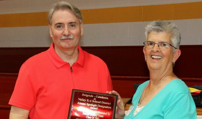 60+1 VALLEY ALUMNI REUNION HELD – The Valley, Belgrade and Caledonia Schools gathered for the first time in two years to celebrate their annual Reunion at Valley High School on Saturday, May 1st, 2021. Pat Yount, here, received a '2020 Spotlight Award' from Alumni President John Robinson III. Mrs. Yount would have received the recognition last year, but the pandemic caused the reunion cancellation. Pat was recognized along with Rev. Donald E. Jarvis, Becky Jenkins and Selma Akers as outstanding alumni. The reunion had approximately 140 guests get together to celebrate the 60+1 Reunion event.