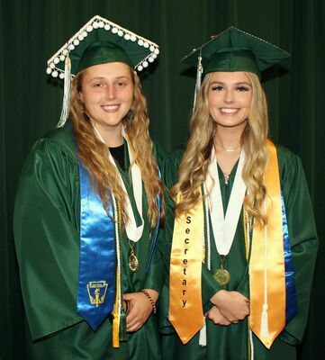 2021 KINGSTON HIGH SCHOOL VALEDICTORIAN AND SALUTATORIAN- The 2021 Kingston High School Valedictorian is Laney Credeur (left), and the Salutatorian is Hannah Gann. Laney is the daughter of Nan and Lee Patterson, and Jason Credeur. Hannah is the daughter of Kimberly AuBuchon and Kevin Gann. Sixty-seven Seniors earned diplomas at Kingston K-14 on Tuesday, May 25th, the largest graduating class in school history.  (School Photo)