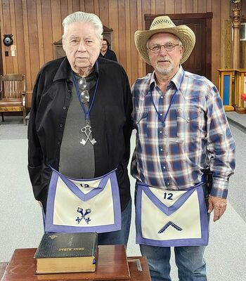 From left; R.W. Bro. Gary A. Causey and Worshipful Master Joseph Tiefenauer. R.W. Bro. Gary Causey was past Worshipful Master in 2012, has been Lodge Treasurer since 2013 and the Lodge's Masonic Home Representative since 2013.
