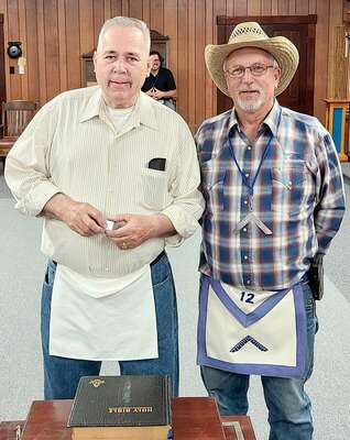 From left, R.W. Bro. Irv Schamel and Worshipful Master Joseph Tiefenuer, R.W. Bro. Schamel is a multiple member of Tyro and Potosi Lodge # 131. He was past Worshipful Master in 2013 and is an Endowed Member.