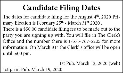 Candidate Filing Dates