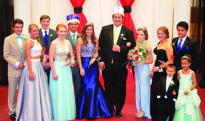 Canton High School held their prom on April 30. Royalty and candidates pictured are: (l-r) Collin Lubbert, Jensen Crenshaw, Logan Brown, Rachel Uhlmeyer, Collin Bracey (2015 King), Brittney Berhorst (2105 Queen), Braedyn Hausdorf (2016 King), Alex Murphy (2016 Queen), Taylor Cole, Derek Froman, Grady Uhlmeyer, Breonna Abbey.