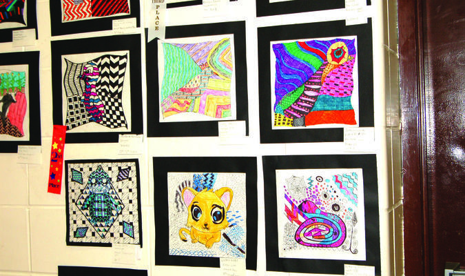 Several Highland students had their art work displayed in the Highland gym for the annual Humanities night.
