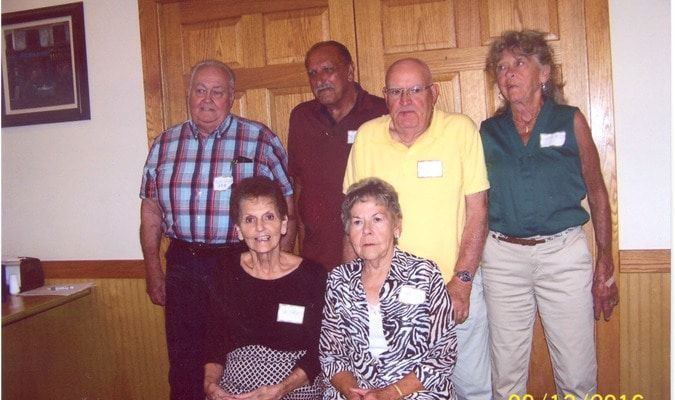 The LaGrange Class of 1955. Front Row: Patty Yager Cottrell, Arlene Maiers Nunn. Back Row: Richard Cottrell, Lee Brandt, Ronald Logsdon, Joan Lay Spurgeon