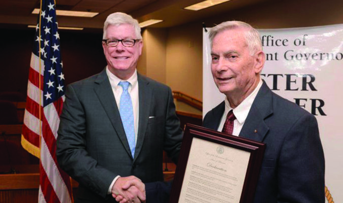 Lt. Governor Peter Kinder, left, presents Joe Clark of Canton with a Veterans Service Award at a ceremony Sept. 15 at the Capitol in Jefferson City.