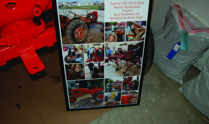 The Canton FFA 2015-2016 Tractor Restoration Project was displayed at the 2016 Lewis County Fair. The group restored an Allis Chalmers CA which was donated by the late Kevin Cary. A display board depicted the work that went into restoring the tractor, from before and after photos, to the process of the group working on the machine.