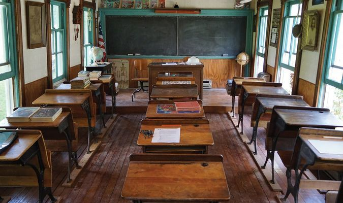 The interior of the Cedar Falls one-room schoolhouse. The new semester began on September 5.