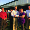 The Community Foundation presented a grant to the Lewis County Fair for improvements to the beef barn. Pictured are: Luke Rothweiler, Keli Geisendorfer, Jill Arnold Blickhan, Virgil Welker, David Plant, Jill Putman, and Jake Brewer.