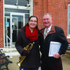 Speakers at the annual Highland History club VETeran's Day Program held in Monticello were Emily Dehner and Bill Smith.