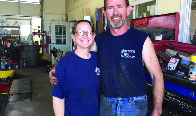 Missouri Tire Owner Marty Miles and Tanya Tilley.