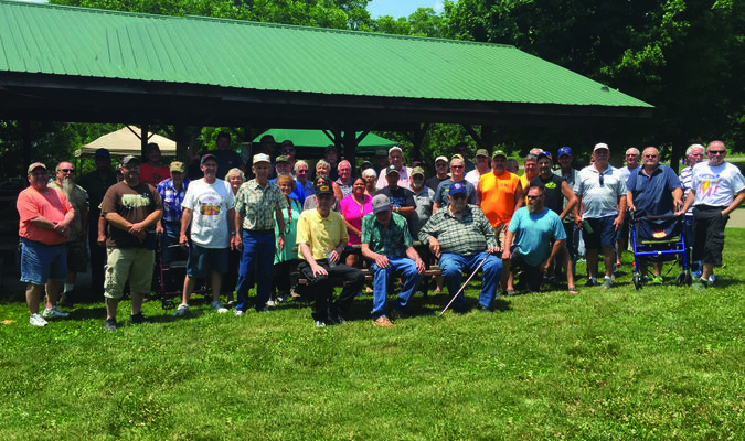The LaGrange Foundry reunion was held on June 16 at Washington Park in LaGrange. Pictured are the former workers who were present around noon when picture was taken. Many other former workers and their families attended. Additional pictures of the event are on page B6.