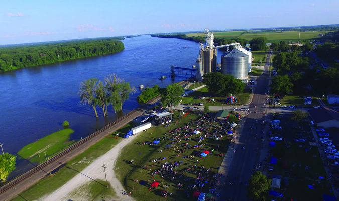 A picture of LaGrange on the Fourth of July afternoon before the big crowd arrived. This submitted photo from a drone shows the Mississippi River out of its banks, but the only interference with the LaGrange activities was that the fireworks display was moved about one block north. More pics of LaGrange Appreciation Day are in this edition.