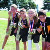 Highland Cross Country Medalists from the Capital City Challenge:  from left to right: Curtis Miller, Colton Rutledge, Morgan Keith, and Lucas Honts.