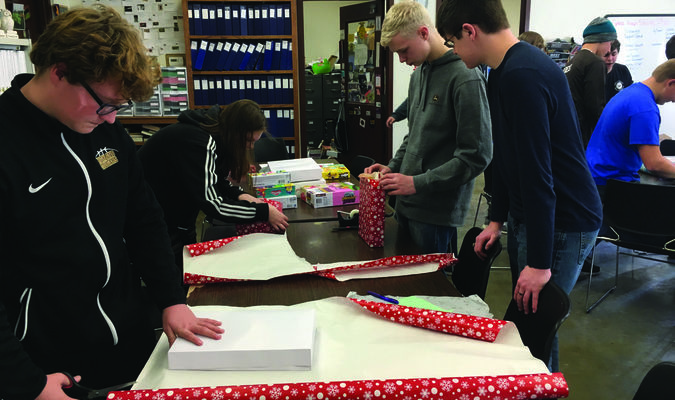 Lewis County C-1 FFA members adopted a family for Christmas.  Members provided gifts and prepared them for delivery to a family.
