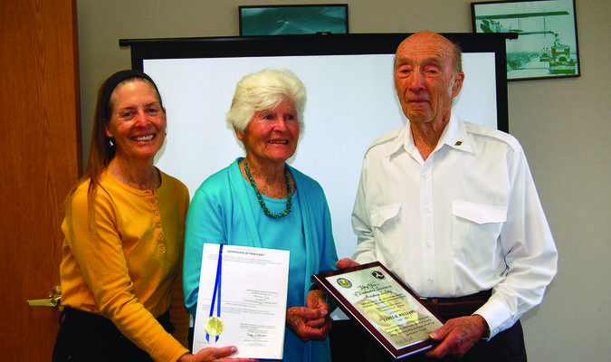 James Hadley Williams with his wife Marilyn and their daughter Lynn after receiving the Wright Brothers Master Pilot Award.